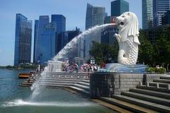Fonte da estátua de Merlion no parque de Merlion, Singapura Imagem de Stock