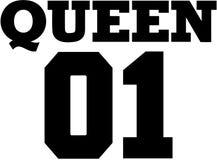 Fonte da faculdade da rainha 01 Projeto do t-shirt dos pares Imagens de Stock Royalty Free