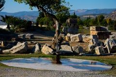 Fonte de água e templo de ruínas em Pamukkale Fotos de Stock