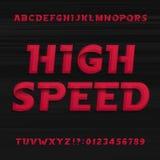 Fonte de alta velocidade do alfabeto Números e símbolos dinâmicos oblíquos das letras ilustração do vetor