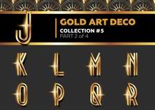 Fonte de Art Deco 3D do vetor Alfabeto retro de brilho do ouro Chiqueiro de Gatsby ilustração royalty free