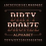Fonte de bronze suja do alfabeto do vintage Letras e números riscados Fotografia de Stock Royalty Free