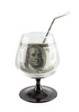 Fonte de finança. Bebida do dinheiro no vidro footed. Imagens de Stock Royalty Free