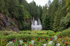 Fonte de água, jardins de Butchart, Victoria, BC, Canadá Fotografia de Stock