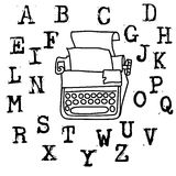Fonte de máquina de escrever velha do vetor Letras do grunge do vintage Letras impressas destruídas velhas Imagens de Stock