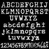 Fonte de máquina de escrever velha do vetor Letras do grunge do vintage Letras impressas destruídas velhas Foto de Stock