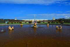 Fonte de Mezheumny em Peterhof, St Petersburg, Rússia Imagem de Stock