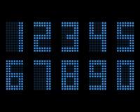 Fonte de néon da tabela de Digitas com grade Números do diodo emissor de luz do vetor Fotografia de Stock