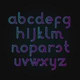 Fonte de néon do alfabeto Foto de Stock