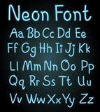 Fonte de néon para alfabetos ingleses ilustração do vetor