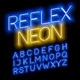 Fonte de néon reflexo Foto de Stock Royalty Free