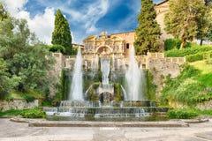 A fonte de Netuno, d'Este da casa de campo, Tivoli, Itália Imagens de Stock