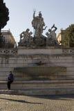 Fonte de Netuno em Praça del Popolo em Roma Foto de Stock Royalty Free