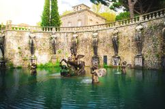 Fonte de Pegasus da casa de campo Lante em Bagnaia, Viterbo - Itália Imagem de Stock