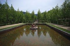 Fonte de Royal Palace no La Granja de San Ildefonso na província de Segovia, Espanha Foto de Stock
