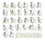 A fonte de todo o alfabeto com números e sinais é feita das folhas da aquarela e de letras douradas fotografia de stock