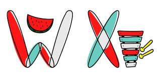 Fonte de vetor de Accendent Alfabeto da criança com ilustração ilustração stock