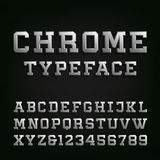 Fonte de vetor chanfrada do alfabeto de Chrome Imagens de Stock