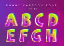 Fonte de vetor das crianças no estilo dos desenhos animados Letra 3D brilhante e colorida ilustração do vetor