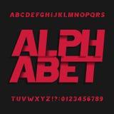 Fonte de vetor decorativa do alfabeto Símbolos e números oblíquos de letras ilustração stock