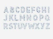 Fonte de vetor do ABC do alfabeto Datilografe letras Lowpoly Imagens de Stock Royalty Free