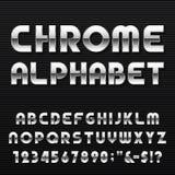 Fonte de vetor do alfabeto de Chrome Imagens de Stock Royalty Free