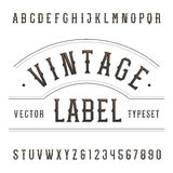Fonte de vetor do alfabeto do vintage Datilografe letras e números no estilo ocidental Imagem de Stock