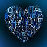 Fonte de vetor do coração dos números Imagens de Stock
