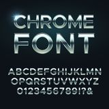 Fonte de vetor do metal de Chrome Letras metálicas de aço do alfabeto ilustração royalty free