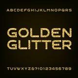 Fonte de vetor dourada do alfabeto do brilho Letras e números Fotografia de Stock Royalty Free