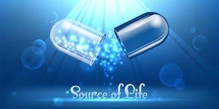 Fonte de vida Abrindo uma cápsula azul médica Sparkles em um fundo azul ilustração do vetor