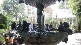 A fonte decorada no jardim exterior video estoque
