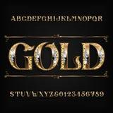 Fonte decorata di alfabeto dell'oro Lettere e numeri dorati del gioielliere con le pietre preziose del diamante royalty illustrazione gratis