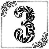 Fonte decorativa con i turbinii e gli elementi floreali Decorato decori Immagini Stock