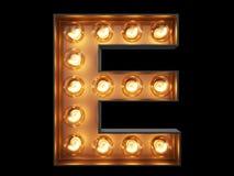 Fonte del carattere E di alfabeto della lampadina illustrazione di stock