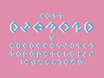 Fonte del dolce del diamante Alfabeto di vettore royalty illustrazione gratis