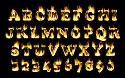 Fonte del fuoco, alfabeto della fiamma Immagine Stock