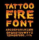 Fonte del fuoco del tatuaggio Alfabeto della fiamma Lettere ardenti ABC bruciante Uff Immagini Stock