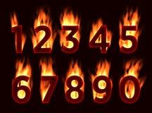 Fonte del fuoco Numeri nel fuoco Alfabeto con fuoco Immagini Stock