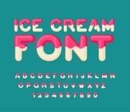 Fonte del gelato Alfabeto del ghiacciolo Dolci freddi ABC Typogra dell'alimento illustrazione di stock