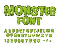 Fonte del mostro Lettere spaventose verdi Alfabeto di vettore Live Abc illustrazione vettoriale