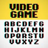 Fonte del pixel del video gioco Fotografia Stock Libera da Diritti