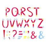 Fonte dell'acquerello Alfabeto disegnato a mano Lettere dell'acquerello decorate con i piccoli fiori illustrazione vettoriale