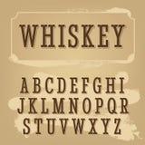 Fonte dell'etichetta del whiskey Fonte d'annata Immagine Stock