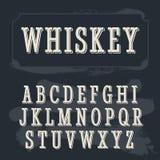 Fonte dell'etichetta del whiskey Fonte d'annata Fotografia Stock