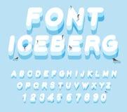 Fonte dell'iceberg lettere 3D di ghiaccio Lettera di alfabeto del ghiaccio ABC dello sno Fotografia Stock