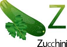 Fonte dell'illustratore z con lo zucchini Fotografia Stock