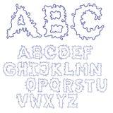 Fonte dell'inchiostro della chiazza Fonte disegnata a mano di schizzo del profilo Insieme blu di alfabeto ENV 8 Immagine Stock Libera da Diritti