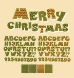 Fonte di ABC di stile della rappezzatura di Natale Fotografia Stock Libera da Diritti