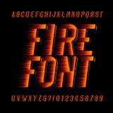 Fonte di alfabeto del fuoco Acceleri il tipo lettere e numeri di effetto su fondo nero Fotografie Stock Libere da Diritti